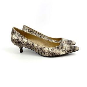 Stuart Weitzman Women's Snakeskin Kitten Heels 7.5